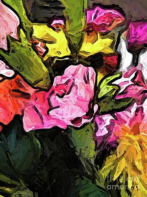 Digital Art - The Pink Flower And The Buds by Jackie VanO