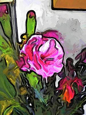 Digital Art - The Pink Flower With The Burgundy Buds by Jackie VanO
