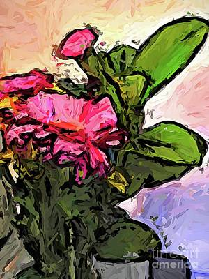 Digital Art - The Pink Flowers And The Green Leaves Jvo1 by Jackie VanO