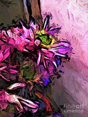 Digital Art - The Pink Flowers By The Pink Wall by Jackie VanO