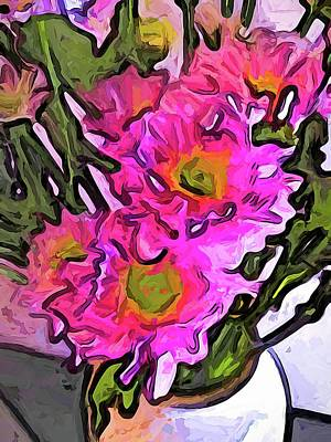 Digital Art - The Pink Flowers In The White Vase by Jackie VanO