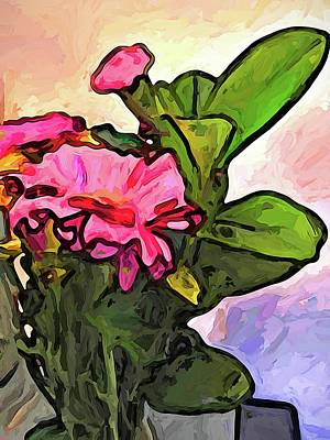 The Pink Flowers On The Left With The Green Leaves Art Print