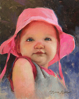Infant Painting - The Pink Hat - Cecelia At 11 Months by Anna Rose Bain