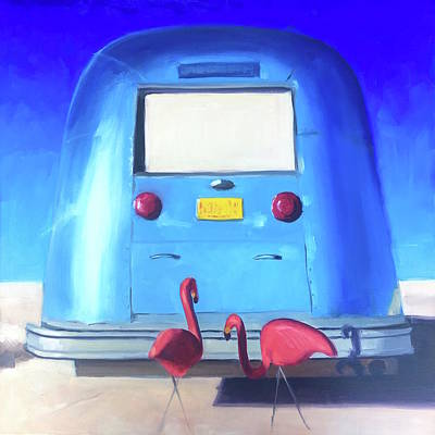 Airstream Trailer Painting - The Pink Hitchhikers by Elizabeth Jose