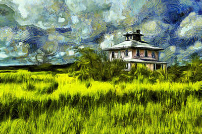 Photograph - The Pink House In Salt Marsh-van Gogh Style by Betty Denise