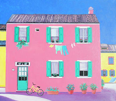 Laundry Painting - The Pink House On The Island Of Burano by Jan Matson
