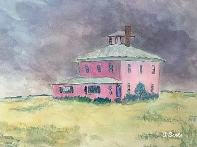 Painting - The Pink House Plum Island by Anne Sands