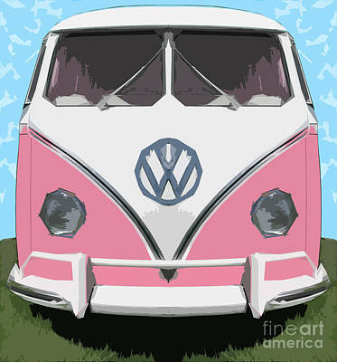 The Pink Love Bus Art Print