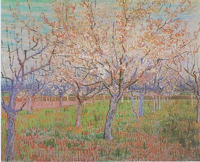 Painting - The Pink Orchard  Orchard With Blossoming Apricot Trees March 1888 by Joy of Life Art Gallery - Vincent Van Gogh