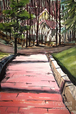 Painting - The Pink Road Off S Broadway Matted Glassed by Charlie Spear