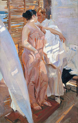 The Pink Robe After The Bath Print by Joaquin Sorolla