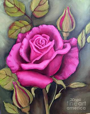Painting - The Pink Rose by Inese Poga