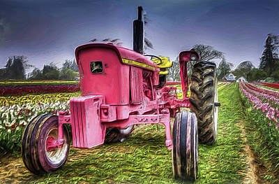 Print featuring the photograph The Pink Tractor At The Wooden Shoe Tulip Farm by Thom Zehrfeld