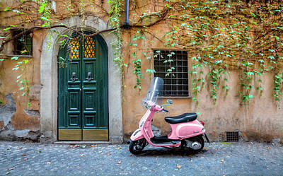 The Pink Vespa Art Print by Al Hurley