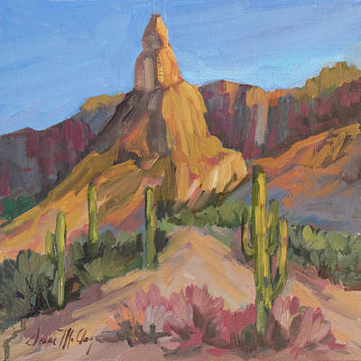 Art Print featuring the painting The Pinnacle At Goldfield Mountains by Diane McClary
