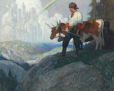 Cow Drawing - The Pioneer And The Vision by Newell Convers Wyeth