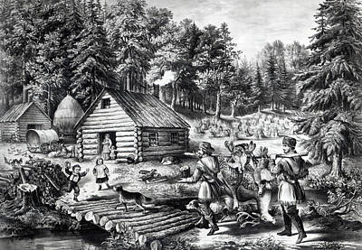 Hunters Drawing - The Pioneer's Home On The Western Frontier by Currier and Ives