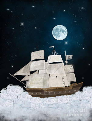 Moon And Stars Painting - The Pirate Ghost Ship by Bleu Bri