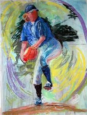 Baseball Pastel Painting - The Pitch by Barbara Noonan