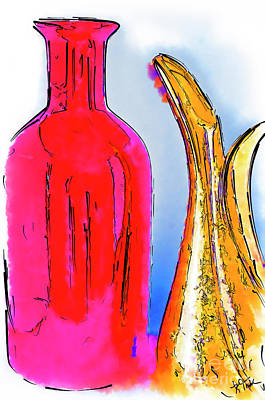 Digital Art - The Pitcher And Vase Watercolor by Kirt Tisdale