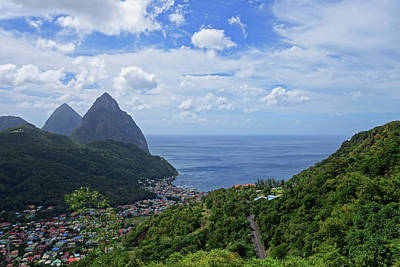 Photograph - The Piton Mountains In Saint Lucia Caribbean by Toby McGuire