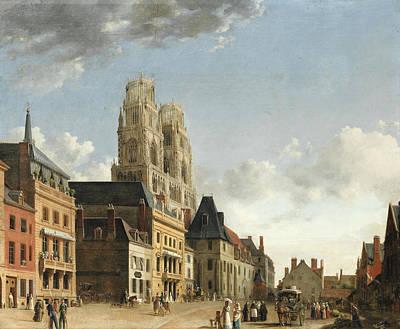 Painting - The Place De L'etape. Orleans by Hippolyte-Jean-Baptiste Garneray