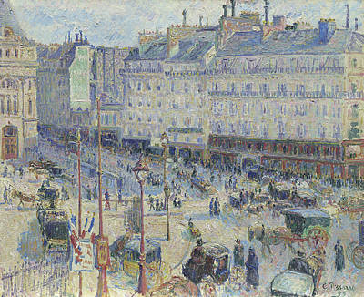 European Street Scene Painting - The Place Du Havre, Paris by Camille Pissarro