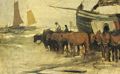 Mauve Painting - The Placing Of A Fishing In Sea Pink by Anton Mauve