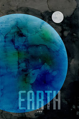 Planet System Digital Art - The Planet Earth by Michael Tompsett