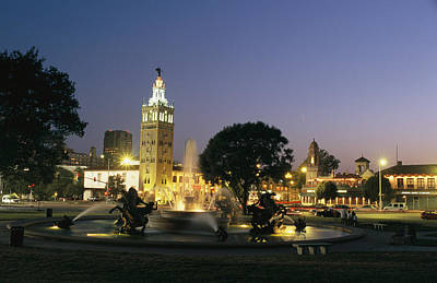 The Plaza In Kansas City, Mo, At Night Art Print by Michael S. Lewis