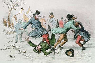Skating Drawing - The Pleasures Of Winter by Victor Adam