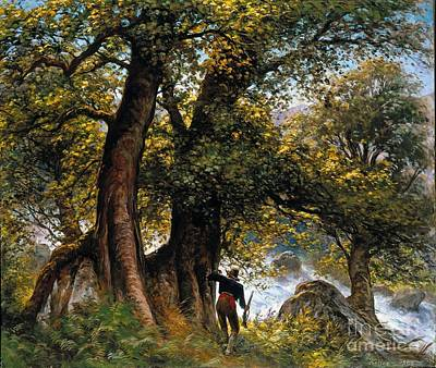 Poacher Painting - The Poachers In The Forest Landscape by MotionAge Designs