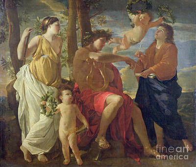 The Poets Inspiration Print by Nicolas Poussin