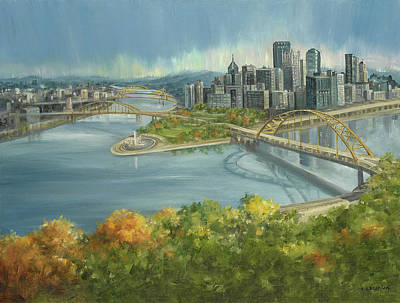 Pittsburgh Painting - The Point by E E Scanlon