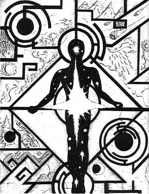 Nature Of Reality Drawing - The Point Of Power Is In The Present by Bob Veon