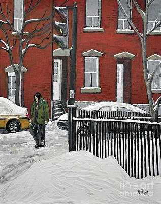 Montreal Winter Scenes Painting - The Point by Reb Frost
