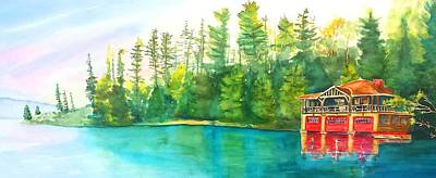 Painting - The Point Resort Boathouse Saranac Lake Ny by Carlin Blahnik CarlinArtWatercolor