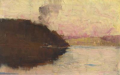 Australian Landscape Painting - The Point, Sunset by Arthur Streeton
