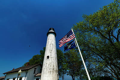 Photograph - The Pointe Aux Barques Lighthouse And Bird by Steven Dunn