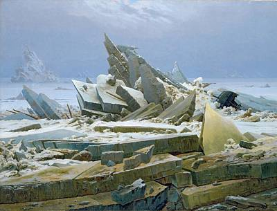 Ice-floe Painting - The Polar Sea by Caspar David Friedrich