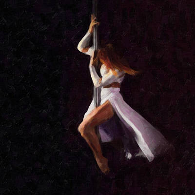 Athletic Mixed Media - The Pole Dance 3 by Tilly Williams