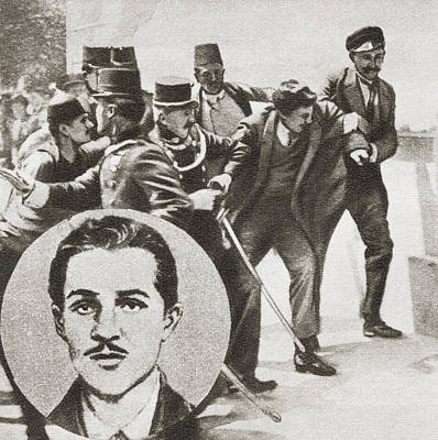 Sarajevo Drawing - The Police Arresting Gavrilo Princip by Vintage Design Pics