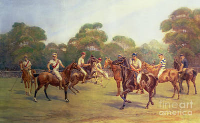 English Riding Painting - The Polo Match by C M  Gonne
