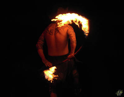 Photograph - The Polynesian Fire Dancer by Elie Wolf