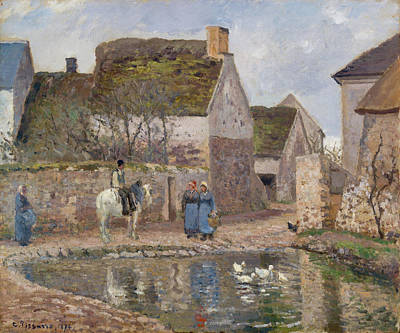 Streetscape Painting - The Pond At Ennery by Camille Pissarro
