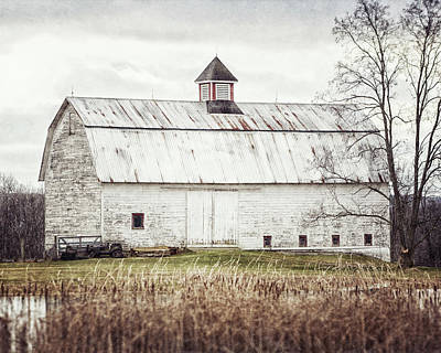 Farm Photograph - The Pond Barn - Rustic Barn Landscape by Lisa Russo