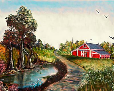 Wet On Wet Digital Art - The Pond By The Red Barn - Elegance With Oil by Claude Beaulac