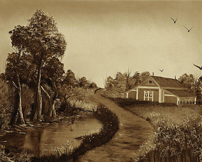 Wet On Wet Digital Art - The Pond By The Red Barn - Sepia by Claude Beaulac