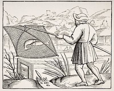 The Pond Fisherman. 19th Century Copy Art Print by Vintage Design Pics