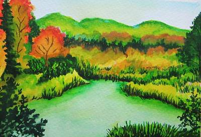 Painting - The Pond In Fall by Monique Montney